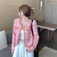 2020 New design women's o-neck long sleeve pink color lurex patchwork plaid pattern single breasted tweed woolen short coat casacos