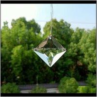 Decorações 4 buracos quadrados Prismas de cristal Clear Glass Chandelier Cristais Beads Pingentes SunCatcher Decoração de Casa Pendurado Ornamento 3 Xuwer