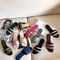 2021 дизайнерские женские сандалии резиновые подошвы хлопчатобумажные вышитые флипсолопцы простые летние кожаные тапочки высочайшего качества Разнообразие цветов 35-42