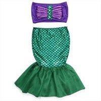 الأميرة الاطفال طفل الفتيات حورية البحر ذيول ملابس السباحة السباحة الصعب اللباس حلي 2 قطع الأطفال مجموعة