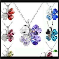 Pendant & Drop Delivery 2021 Ladies Necklaces Jewel Pendants Four Leaf Clover Long Neckless Flower Crystal Jewelry Girls Women Birthday Gift