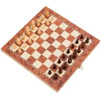 Jogo de xadrez de madeira International Chess Entertainment Game Set Dobrável Placa Educacional Durável e Resistente ao Desgaste 33 Z2
