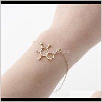 Charm Drop Delivery 2021 5Pcs Coffee Dopamine Molecule Chemical Molecules Bracelet Science Structure Chemistry Molecular Bracelets For Nurse