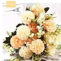 Flores decorativas grinaldas de estilo nórdico peônia artificial luxuoso buquê decoração de casamento para mesa decoração de mesa céu azul falso hortênsia