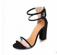 Kadın yılan derisi desen yaz yüksek topuk sandalet şeffaf ayak bileği kayışı pompalar kapak topuk dans ayakkabı seksi parti elbise sandalet mavi ayakkabı ucuz kum h0jm #