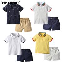 Vimikid 2019 nova roupa de menino terno short-manga camisa shorts 2 peça conjunto de roupas infantis cavalheiro copos casuais saco x0509