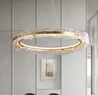 Water corrugated glass simple chandelier modern light  chandelier bedroom dining living room high-end led round chandelier