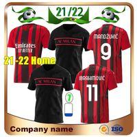 21/22 AC Milan # 11 Ibrahimovic # 9 Mandzukik Futbol Forması 2021 Theo Rebic Gömlek Paqueta Tonalı Romangnoli Calhanoğlu Cutrone Kessie Futbol Üniforması