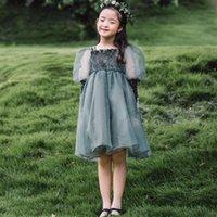 Girls lace tulle dresses kids ruffle velvet square collar splicing gauze puff sleeve princess dress children birthday party clothing Q2856