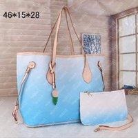 Bolsa de cor de duas peças Bolsa de ombro bolsa clássica graffiti design de alta qualidade mulheres grandes capacitação designer