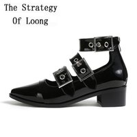 Summer Patent Leather Retro Pointed Toe Lady Sandal Rome Shallow Mouth Mid Heels Shoes Women Buckle Gladiator Sandals 1108