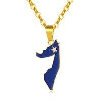 Кулон Ожерелья Классическая Африка Золотой Цвет Сомали Флаг карты Ожерелье для Женщин / Мужчины Ювелирные Изделия Bijoux Femme