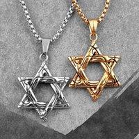 Colares de pingente judaísmo hexagrama ouro aço inoxidável homens pingentes cadeia punk para namorado macho jóias criatividade presente atacado