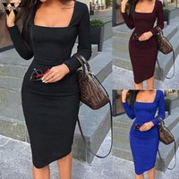 Casual Dresses Womail Dress Women 2021 Vintage Solid Square Neck Long Sleeve Party Elegant Workwear Holiday Evening 827