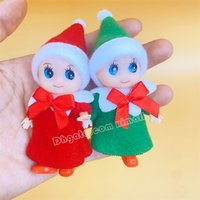 Baby Elf Doll For Home Creative Small Ornaments Pendant Christmas Gift with Movable Arms and Legs Wear A-line Dress Mini Toys 2 Colors Lovely Fairy Cake decoration