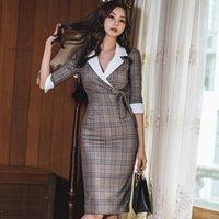 Casual Dresses Autumn Notched Vintage Plaid Vestidos Bowknot Half Sleeve Knee-Length Bodycon Pencil Office Work Cloth Dress