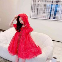 Tops quality Kids Girls Dress Summer Children Pageant Gown Princess Wedding Dress For Baby Girl Red Party Clothes