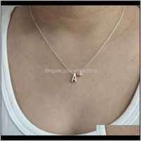 Pendant Necklaces & Pendants Jewelry Drop Delivery 2021 Fashion Initial Letter Name Alphabet A-N Slide With Heart Aossery Sier Plated Metal C