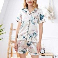 Fallsweet Ipek Pijama Kadınlar için Kısa Kollu Bayanlar Pijama Baskı Iki Parçalı Set Gecelik Rahat 211007