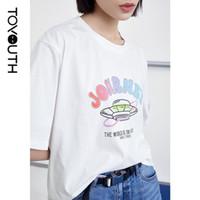 T-shirt da donna 2021 estate manica corta girocollo girocollo lettera sciolta stampa gradiente colore colore casual top