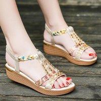 Sandals 2021 Platform Wedges Women Summer Women's Shoes Vacation Rhinestone Bohemian Beach Slippers Flat