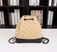 最高品質の女の子の贅沢なデザイナーバックパックバッグクロスライディングバックパック本革財布ハードウェアチェーンプレーン薄いロープ女性旅行バッグ3色