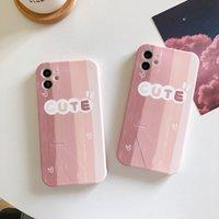 핑크 세로 줄무늬 일치 귀여운 단어 TPU 전화 케이스 접이식 브래킷 아이폰 12 11 프로 Promax x XS 최대 7 8 플러스