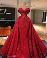 Gorgeous Red Mermaid Evening Dresses With Detachable Train 2021 Sweetheart Prom Dress Formal Evening Gowns robe de soiree Abendkl