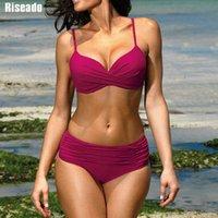 RISEADO Push Up Set Wein Rote Badebekleidung Frauen Badeanzug Ruhnierte Badeanzüge Strap S Sexy Twisted Bikini Sommer