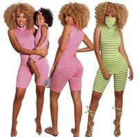الأسرة مطابقة تتسابق الفتيات الشريط سترة قمم + السراويل 2 قطع الأم عارضة الزي الأم وأنا تطابق الملابس A6786