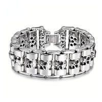 Link, Chain Men Stainless Steel Bracelet Skeleton Titanium Bracelets Trend Personality Punk Fashion Ornaments