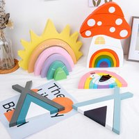 DIY 3D Baby Montessori Rainbow Stacker Wooden Toys Building Blocks Educational Toy Stacking Game Kids Creative Wood Toys Gift