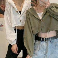 Women's Jackets Women Korean Hooded Drawstring Loose Tops Casual Long Sleeve Cardigan Short Coats One Size