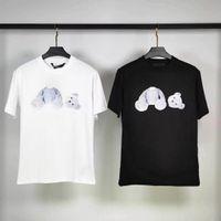 Camisetas para hombres Palmeras Palmeras Ángeles Tees decapitado Big Head Bear Oso suelto casual Cuello redondo Cuello de algodón Pareja de mangas cortas
