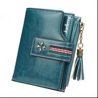 Fashion Piccolo portafoglio di cuoio in pelle di olio Donne Elegante Zipper AMP HASP Scheda Donna di alta qualità Breve borsa portametto