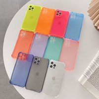 Military-Grade Shock-Absorbing Corners Cases Fluorescence Color Transparent Shockproof Clear TPU Camera Lens Protection For iPhone 13 12 Mini 11 Pro MAX 8 7 Plus