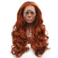 Synthetic Wigs Glueless Lace Front Wig Copper Red Long Natural Wavy Free Part Hair For Women