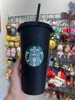 Starbucks Mermaid Goddess 24oz / 710ml Mugs en plastique Tumblier Réutilisable Noir Noir Boire Plat Pillar Couvercle Couvercle Couvercle de paille 50pcs Gratuit DHL