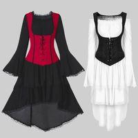 Gothic Punk Zweiteilige Weste Kleid Frauen Plus Größe coole Spitze Batwing Sleeve Mittelalterliche Party Kleid Dame Eleganter Weinlese