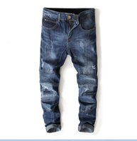 Top quality men's Pleated stitch hole Jeans New Designer Men Jeans Famous Brand Slim Fit Mens Printed Jeans Denim Pants 7113