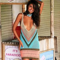 여름 섹시한 휴가 해변 드레스 여성 니트 비키니 커버 크로 셰 뜨개질 수영복 cover-ups 수영복 비치웨어 휴가 여성 수영복