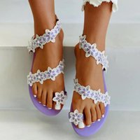 Sandals LOULUEN Women's Bohemian Flowers Casual Shoes Breathable Fashion Outdoor Leisure Winding Flat Bottom Slippers