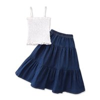 Clothing Sets Girls Outfits Baby Clothes Kids Suits Children Summer Ruffle Tank Tops Denim Long Skirts 2Pcs 2-7Y B5402