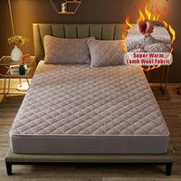 Sheets & Sets Thicken Soft Lamb Wool Quilted Mattress Cover Solid Color Quick Warm Plush Anti-Mite Fitted Sheet Bed Pad Protector