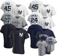 Nouveau 99 Jersey de baseball Juge Custom Custom York Derek Jeter Gerit Cole Gleyber Torres 26 Lemahieu Don Mattingly Gary Sanchez Mariano Rivera