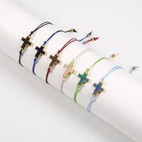 Pulsera colgante de la cruz de la cruz de la resina natural con la tarjeta de deseos Pulseras de trenzas de cuerda de cuerda coloridas para hombres Regalo de joyería de las mujeres