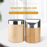 Bins Bins Bamboo Desktop Mini Flip Basura Can Creative Pequeño Papel Canasta Oficina Dormitorio Cubo de almacenamiento con tapa