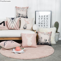 Nordic Decorative Cushions Covers Home Decor FLower Throw Pillows Case Deer Elephant Pink Linene Geometric For Sofa Cushion Decorative Pillo