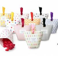 Creative Kraft Papel Caramelo Cajas de regalo Forma Favorita Favores de boda Cajas de embalaje de regalo Drageo Bolsas de caja con cinta DHF7062