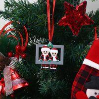 Christmas Decorations PVC Red Plaid Santa Claus Pendant DIY Name Creative Cute Family Photo Frame Xmas Tree Ornament Happy New GWD10442